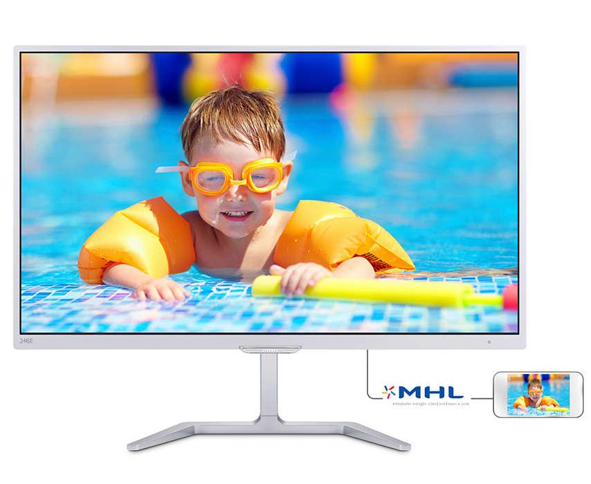 Monitor LED Philips E-line 246E7QDSW 23.6 5ms Full HD D-Sub DVI HDMI