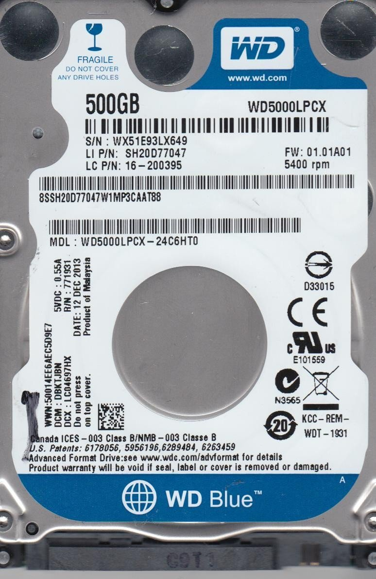 Hard Disk Notebook Western Digital Blue 500GB SATA3 5400 rpm 16MB
