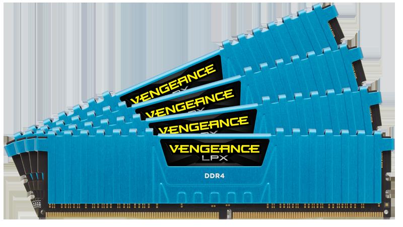Memorie Desktop Corsair Vengeance LPX 32GB (4 x 8GB) DDR4 2400MHz Blue