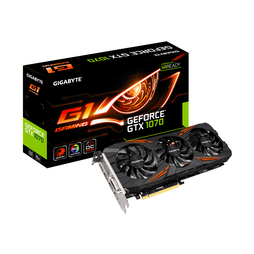 Placa Video Gigabyte nVidia GeForce GTX 1070 8GB GDDR5 HDMI DVI DisplayPort 256 biti