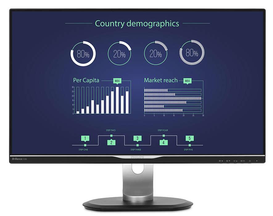 Monitor LED Philips 258B6QUEB 25 QHD IPS 5ms Negru