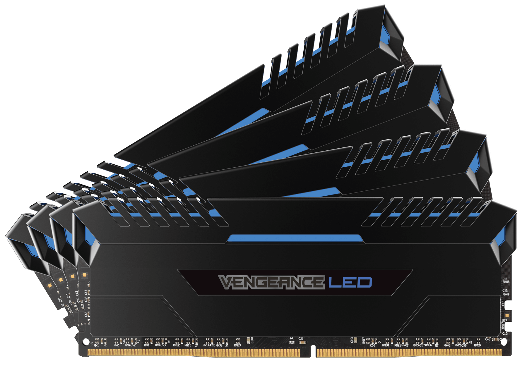 Memorie Desktop Corsair Vengeance LED 32GB (4x8GB) DDR4 3000MHz Blue