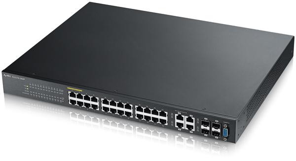 Switch ZyXEL GS2210-24H cu management cu PoE 24x1000Mbps-RJ45 (PoE) + 4x1000Mbps-RJ45 (sau 4xSFP)
