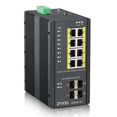 Switch ZyXEL RGS200-12P Industrial 8x GbE+4x SFP PoE DIN rail/Wall mount IP30