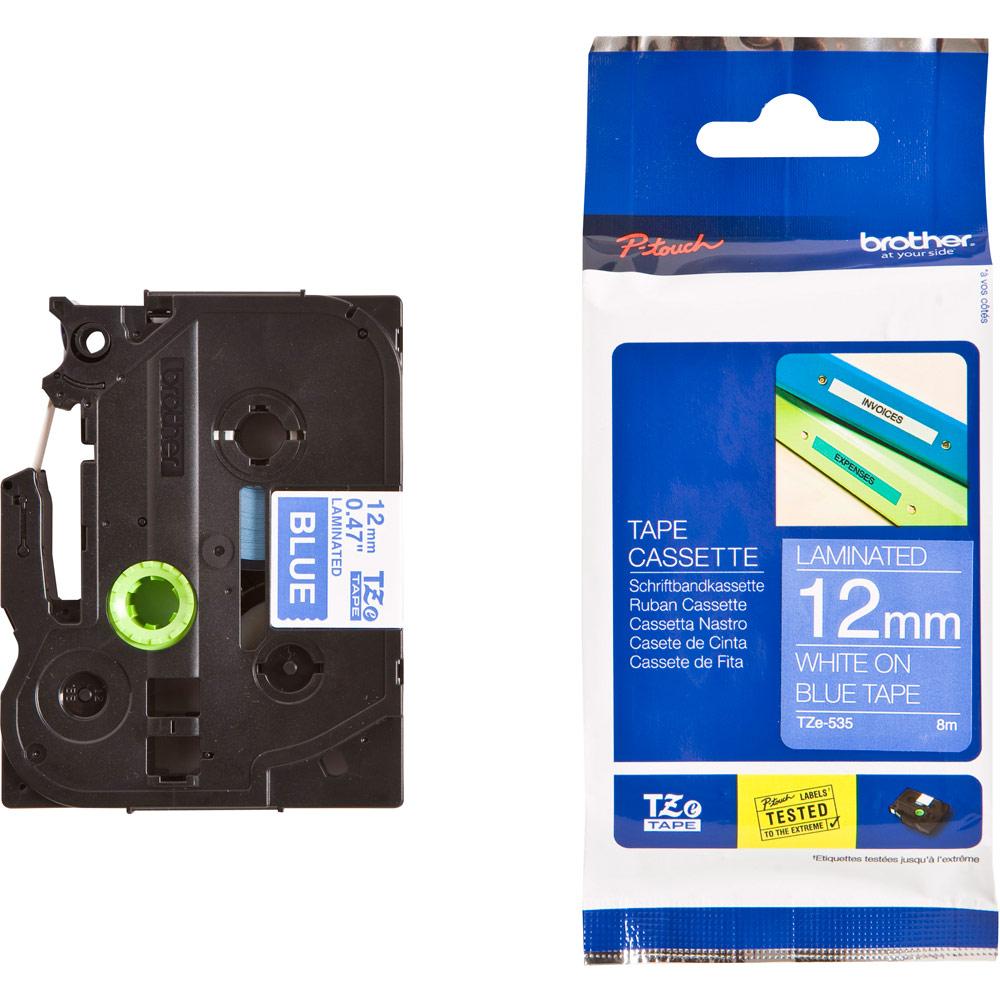 Banda laminata Brother TZE535 White on Blue pentru P-Touch 12mm