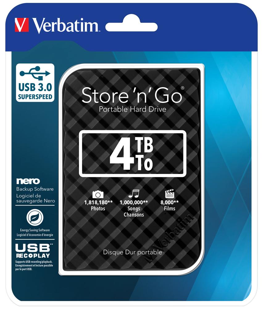 Hard Disk Extern Verbatim Store`n`Go 4TB USB 3.0 Black