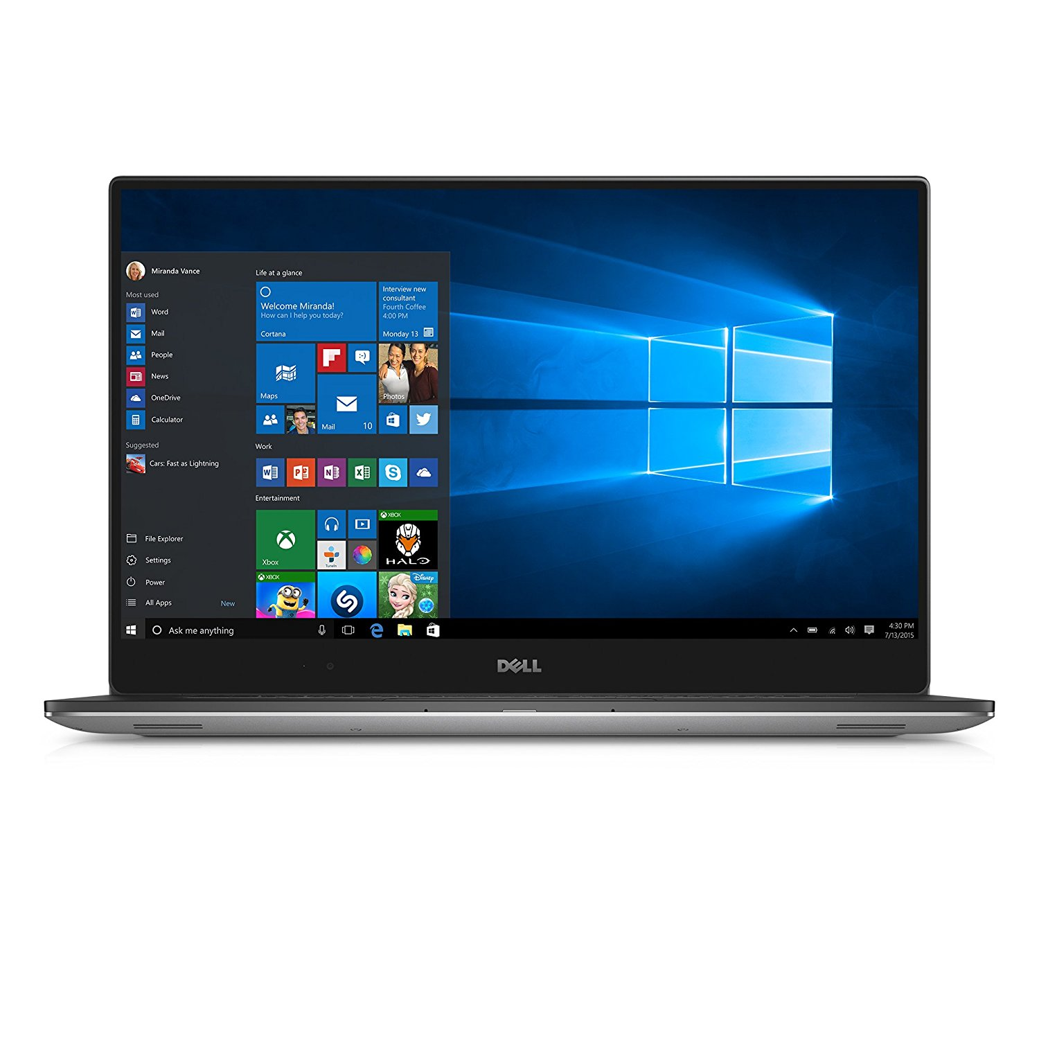 Notebook Dell XPS 15 9560 15.6 4K Touch Intel Core i7-7700HQ GTX 1050-4GB RAM 16GB SSD 512GB Windows 10 Pro Argintiu