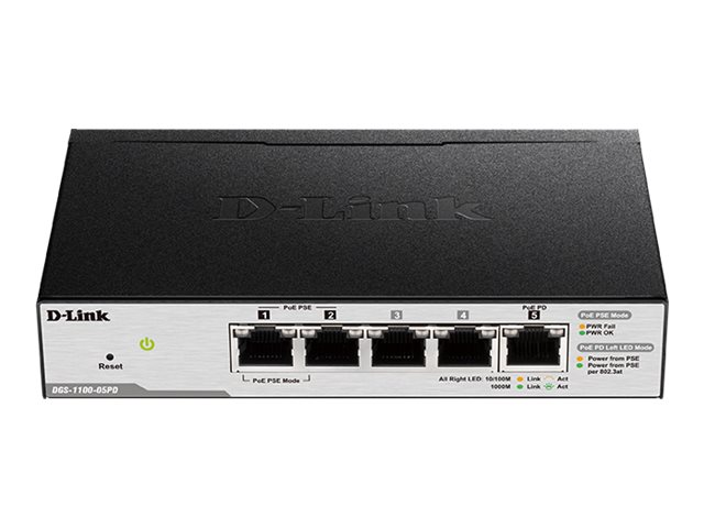 Switch D-Link DGS-1100-05PD cu management cu PoE 5x1000Mbps-RJ45 title=Switch D-Link DGS-1100-05PD cu management cu PoE 5x1000Mbps-RJ45