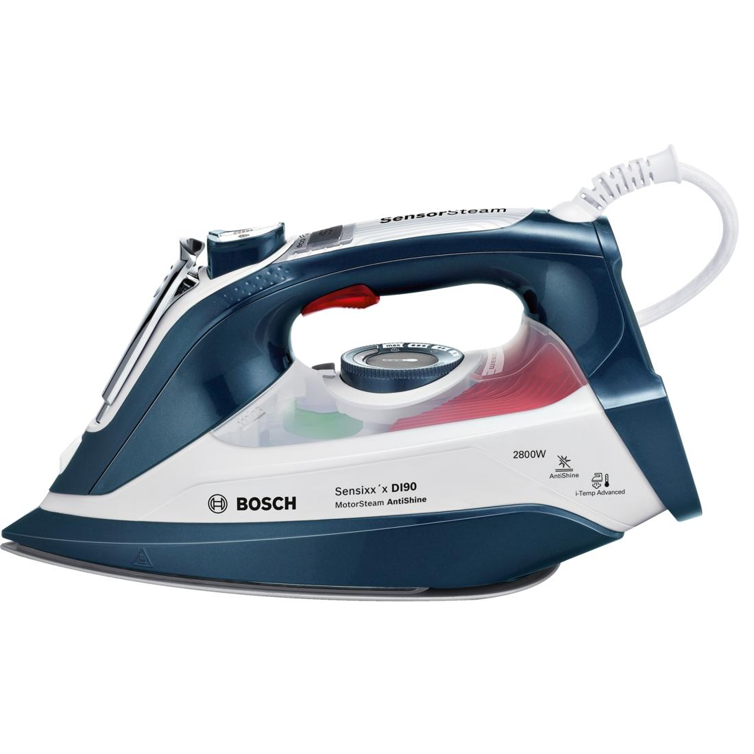 Fier de calcat Bosch Sensixx'x DI90 AntiShine TDI902836A 2800W Capacitate 400ml Albastru/Alb