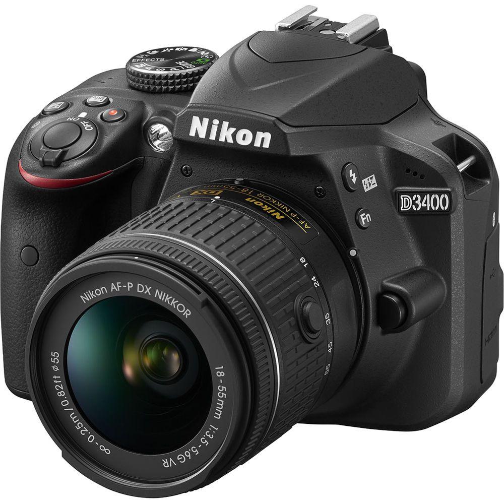 Aparat Foto Nikon DSLR D3400 Kit AF-P 18-55mm VR Negru