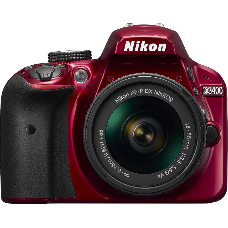 Aparat Foto Nikon DSLR D3400 Kit AF-P 18-55mm VR Rosu