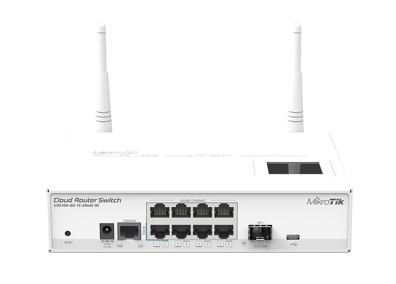 Router Mikrotik CRS109-8G-1S-2HnD-IN 8x1000Mbps-RJ45 1xSFP WiFi: 802.11n