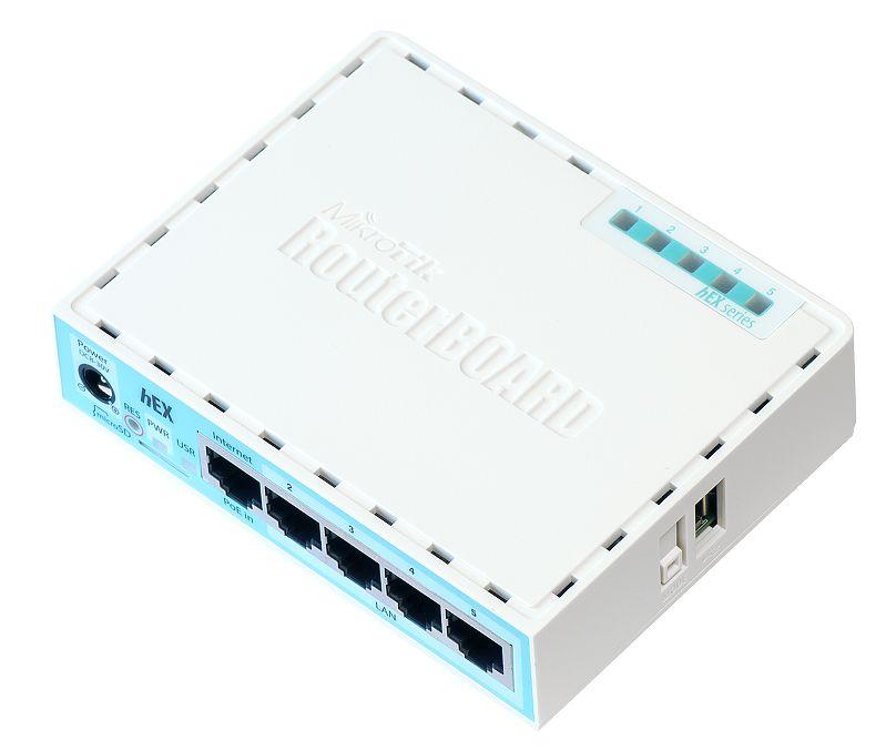 Router Mikrotik hEX 5x1000Mbps-RJ45 CPU: dual-core 880MHz RAM: 256MB microSD slot