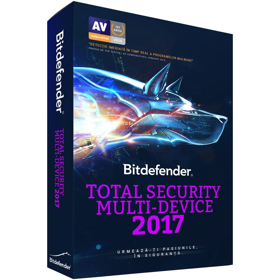 Antivirus Bitdefender Total Security Multi-Device 2017 3 useri 1 an Retail Noua