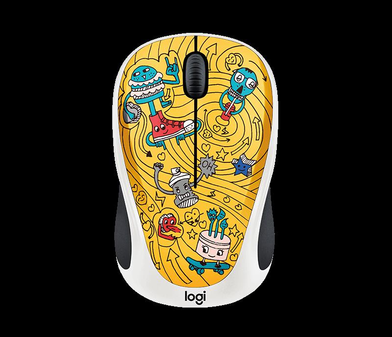 Mouse Wireless Logitech M238 Doodle Collection Go-Go Gold