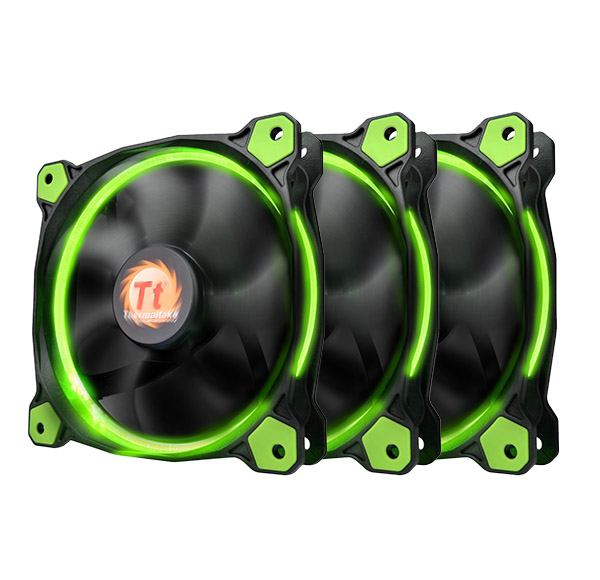 Cooler Thermaltake Riing 12 High Static Pressure 120mm Green LED Three Fans Pack