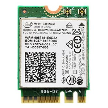 Placa de retea Intel 7265 interfata calaculator: M.2 rata de tranfer pe retea: 802.11ac-867Mbps