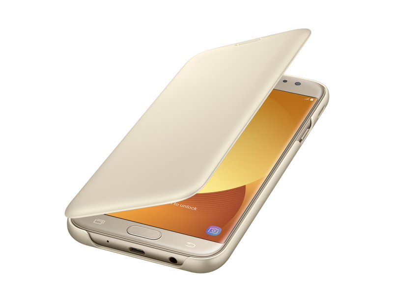 Husa tip portofel Wallet Cover pentru Samsung Galaxy J7 2017 Gold