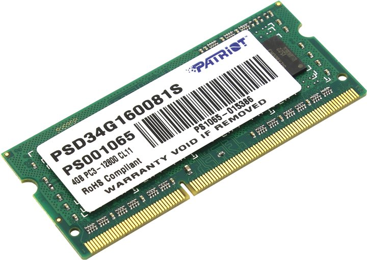 Memorie Notebook Patriot Signature 4GB DDR3 1600MHz 1 Rank Double Sided 1.5V