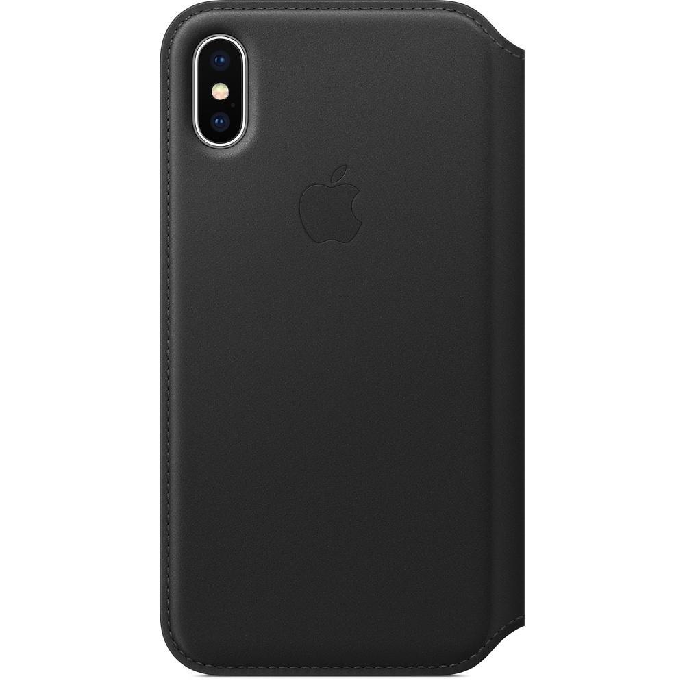 Husa Apple Leather Folio pentru iPhone X Black