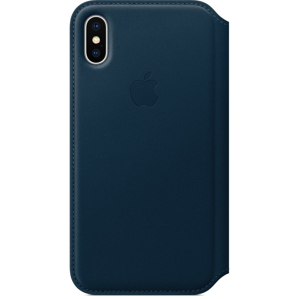 Husa Apple Leather Folio pentru iPhone X Cosmos Blue