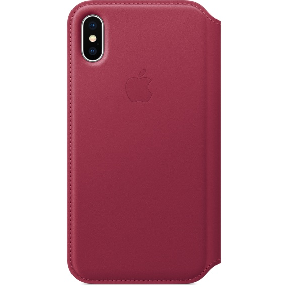 Husa Apple Leather Folio pentru iPhone X Berry