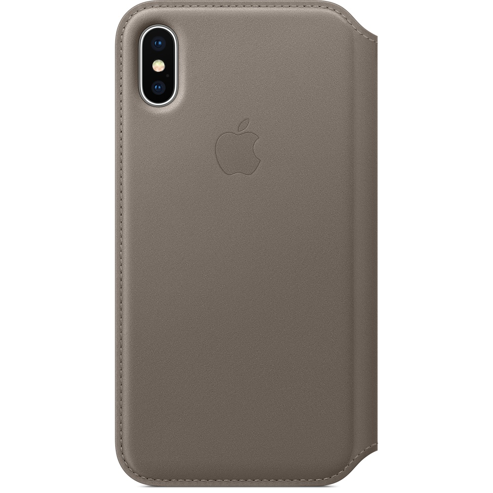 Husa Apple Leather Folio pentru iPhone X Taupe