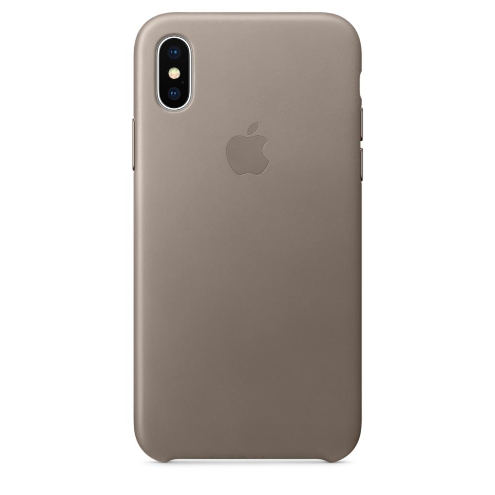 Capac protectie spate Apple Leather Case pentru iPhone X Taupe