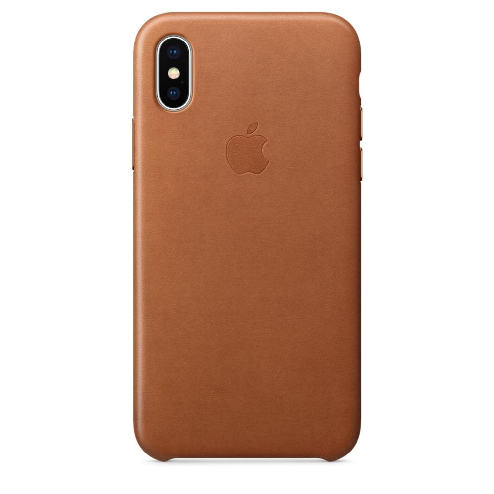 Capac protectie spate Apple Leather Case pentru iPhone X Saddle Brown
