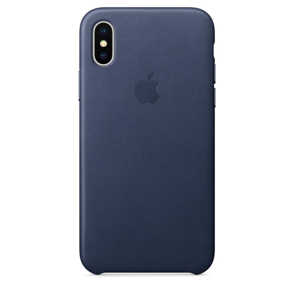 Capac protectie spate Apple Leather Case pentru iPhone X Midnight Blue