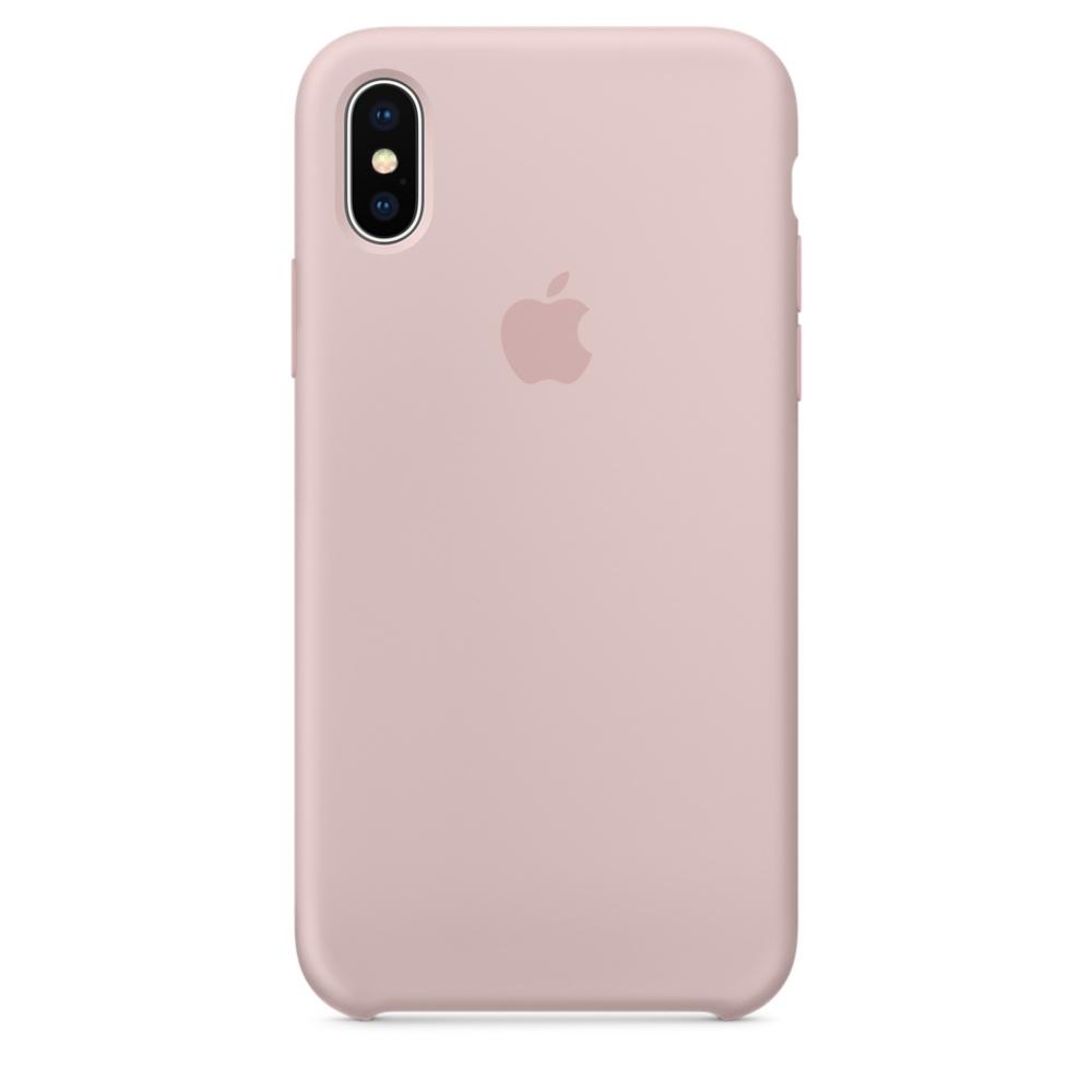 Capac protectie spate Apple Silicone Case pentru iPhone X Pink Sand