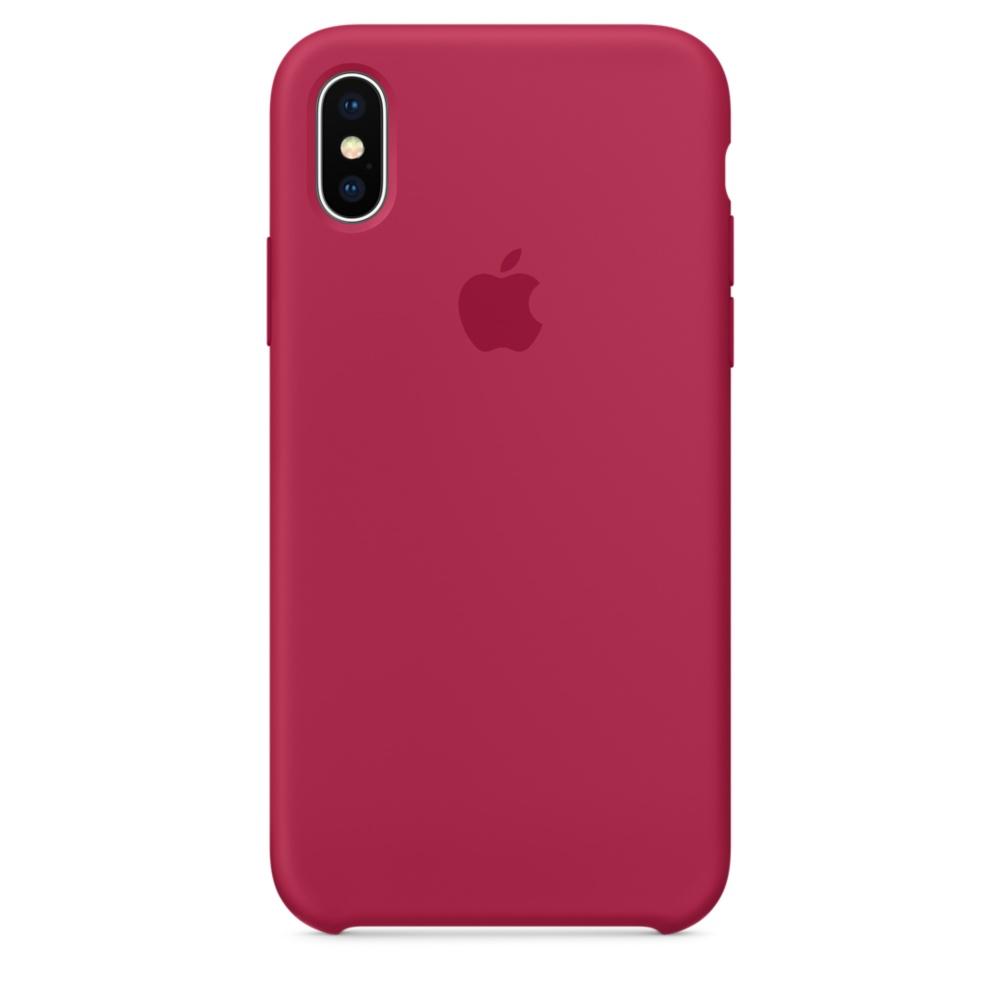 Capac protectie spate Apple Silicone Case pentru iPhone X Rose Red