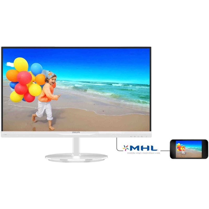 Monitor LED Philips 234E5QHAW 23 5ms Full HD Alb