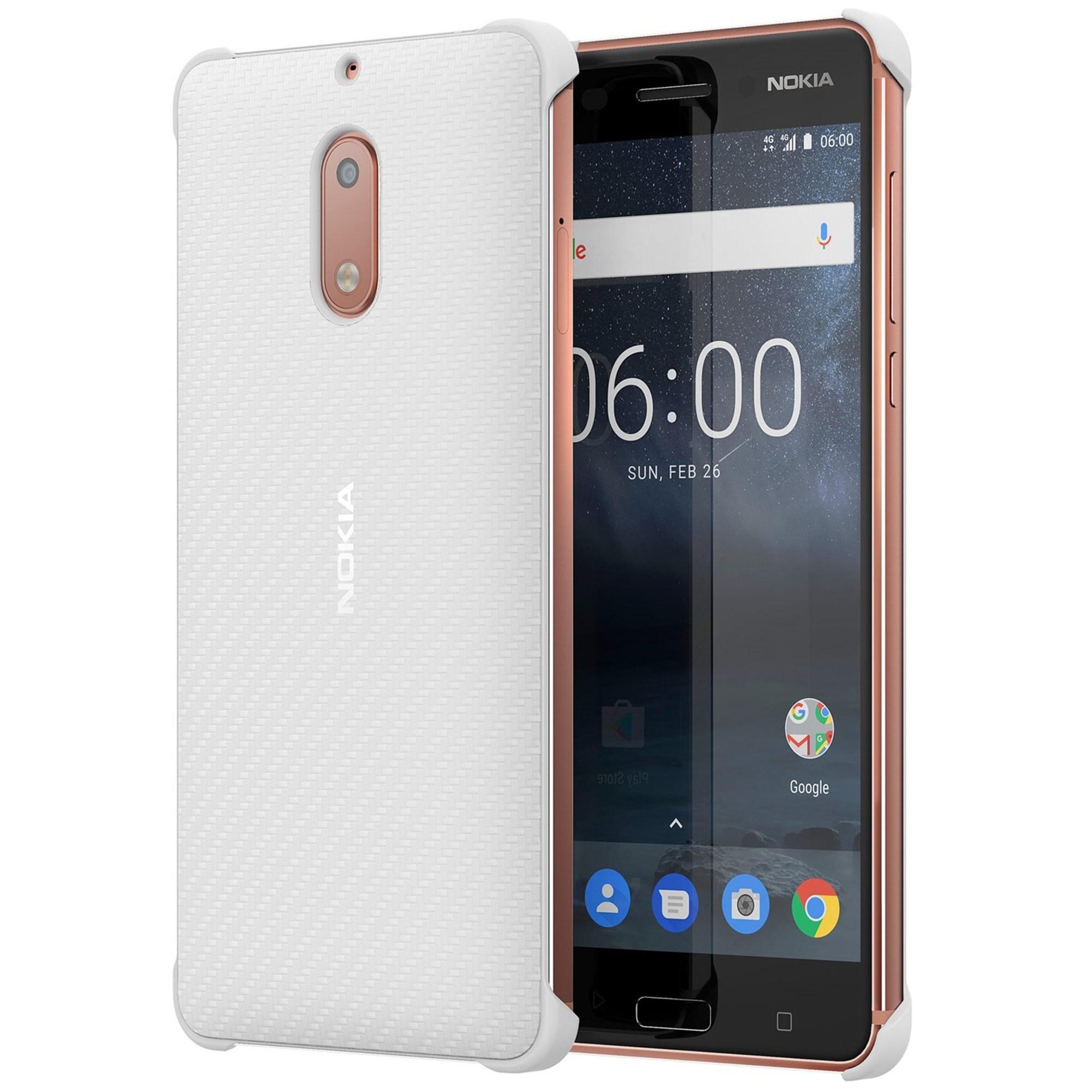 Capac protectie Carbon Fibre Design Nokia CC-802 pentru Nokia 6 White