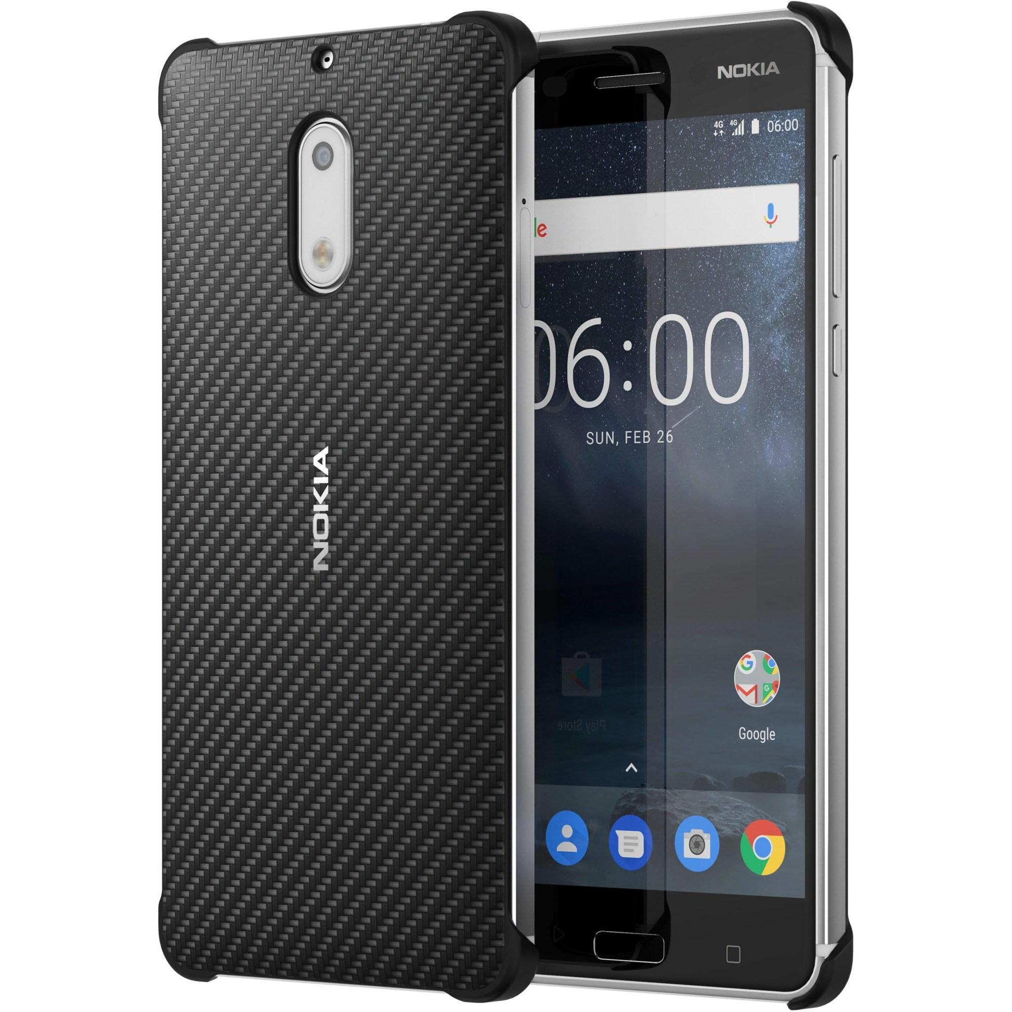 Capac protectie Carbon Fibre Design Nokia CC-802 pentru Nokia 6 Black
