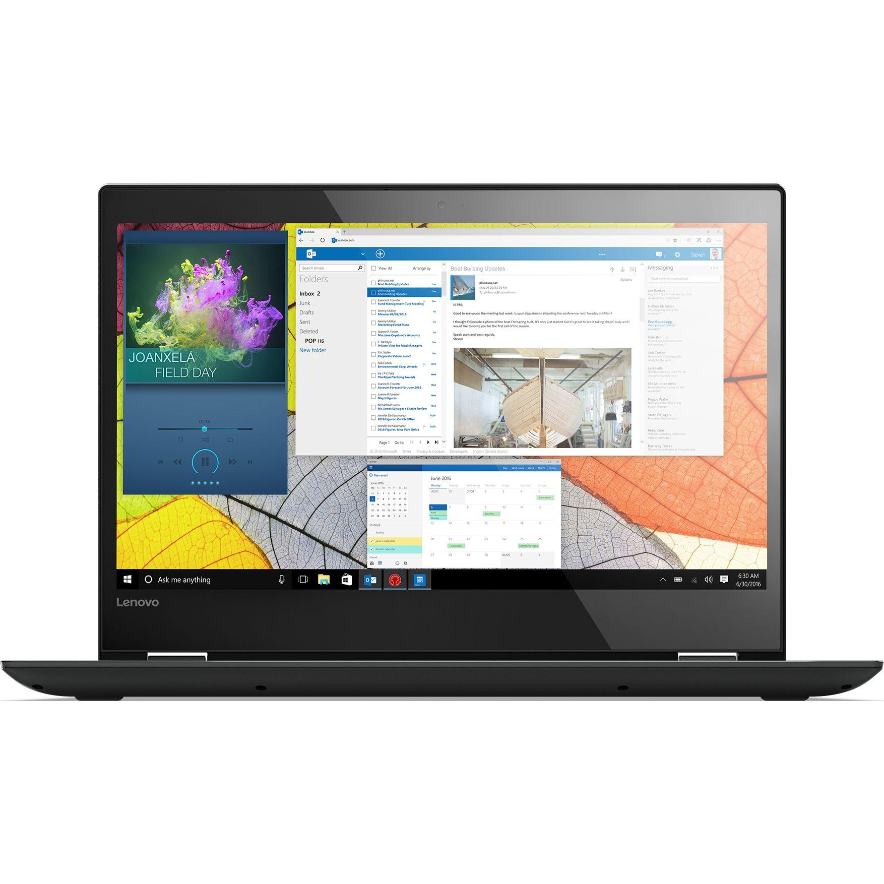 Ultrabook Lenovo Yoga 520 14 Full HD Touch Intel Core i3-7130U RAM 8GB HDD 1TB + SSD 128GB Windows 10 Home Negru