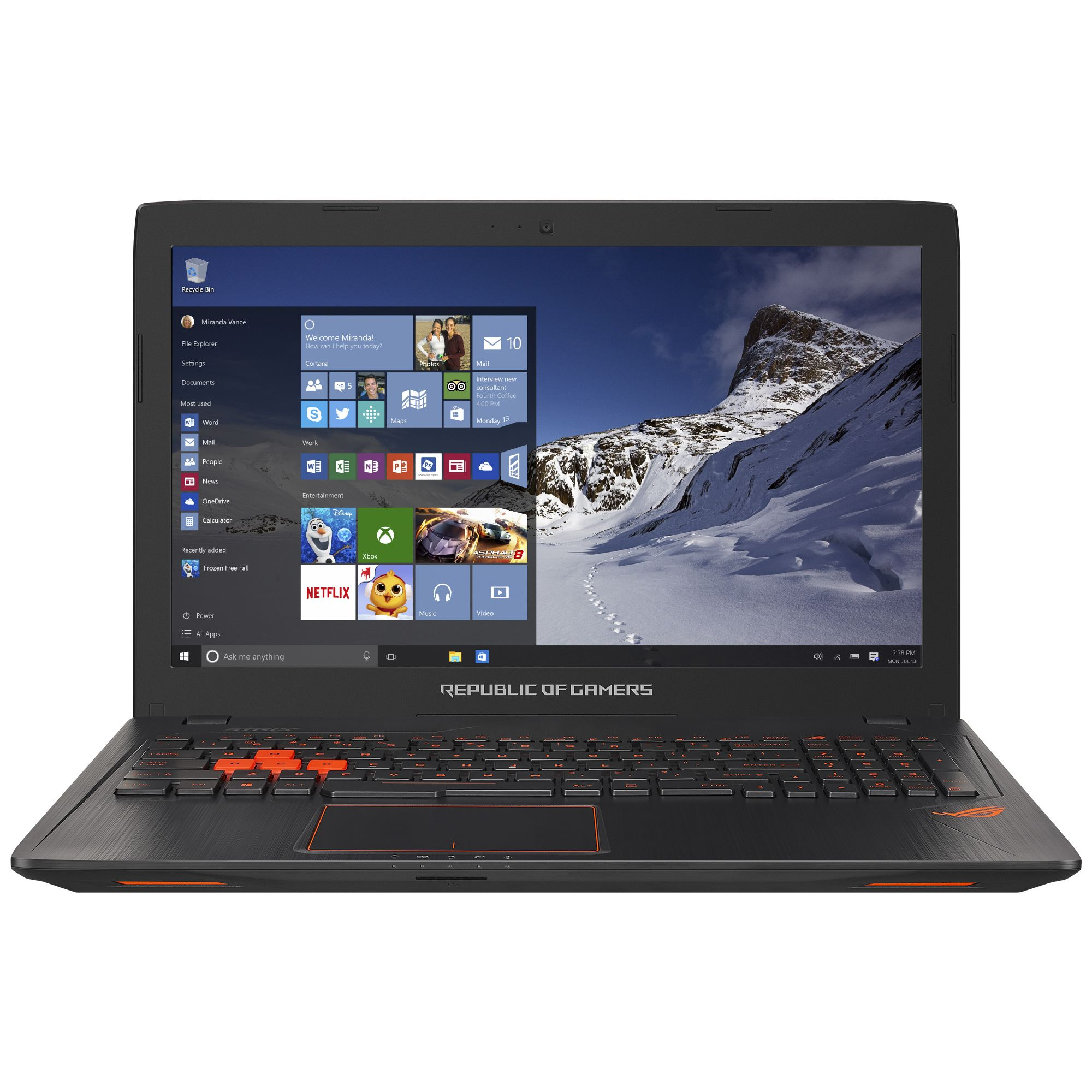Notebook Asus ROG GL553VE 15.6 Full HD Intel Core i7-7700HQ GTX 1050 Ti-4GB RAM 24GB HDD 1TB + SSD 128GB Endless OS