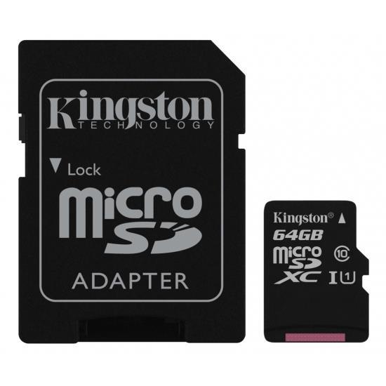 Card de memorie Kingston microSDXC Canvas Select 80R 64GB CL10 + adaptor SD