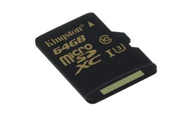 Card de memorie Kingston microSDXC Gold 64GB UHS-I Speed Class 3(U3) fara adaptor