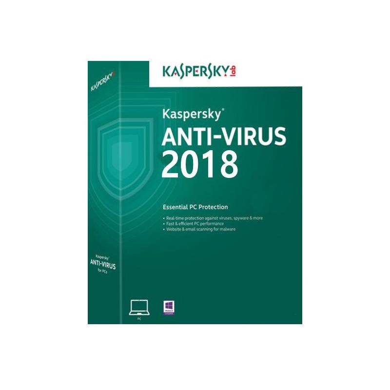 Kaspersky Antivirus 2018 3 PC 1 an New