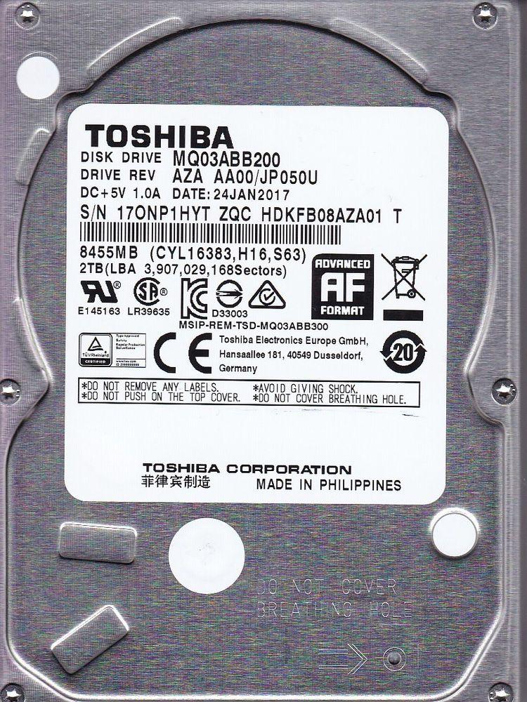 Hard Disk Notebook Toshiba HDKFB08AZA01 2TB 5400RPM 16MB SATA III