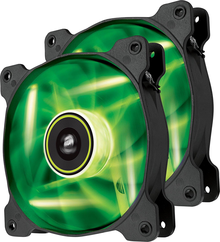 Ventilator Corsair Air Series SP120 High Static Pressure 120mm LED Green Twin Pack