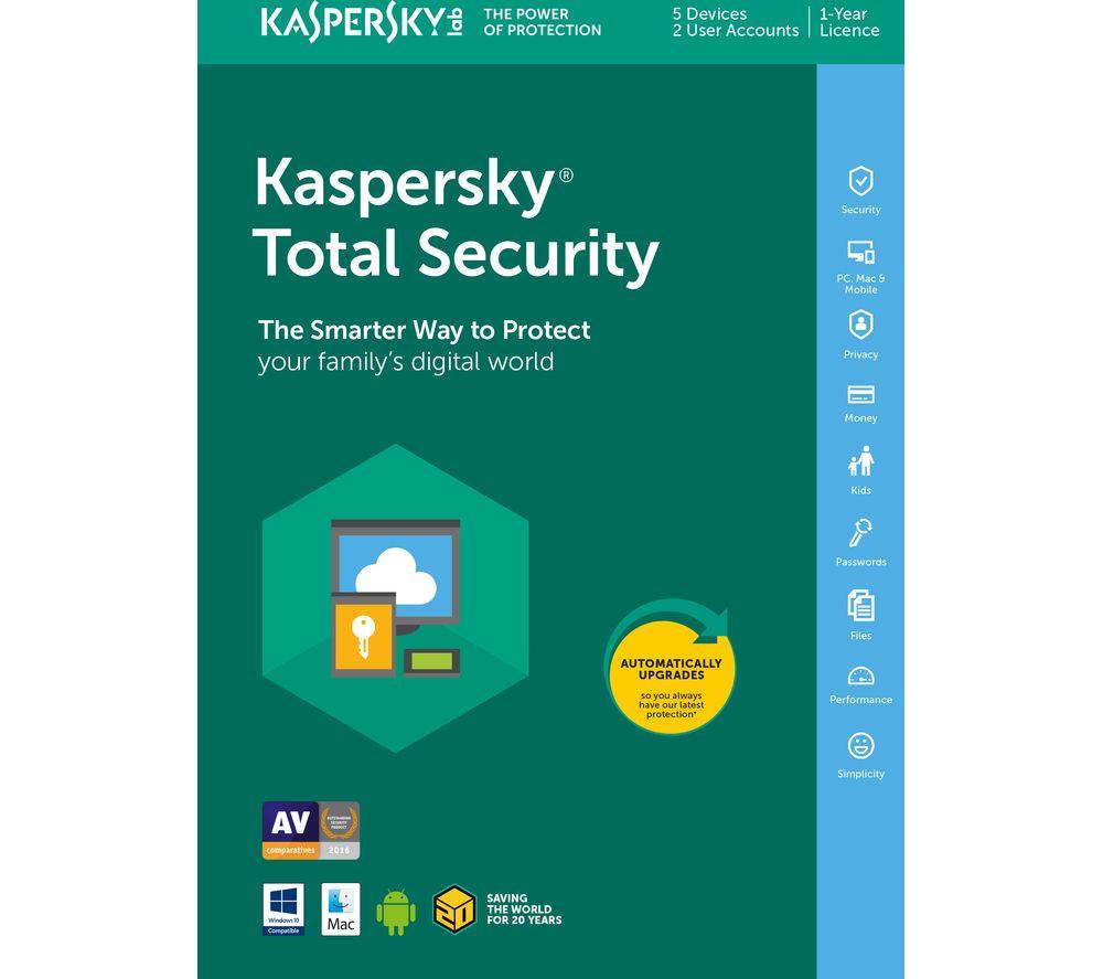 Kaspersky Total Security Licenta Electronica 1 an 5 echipamente Renew