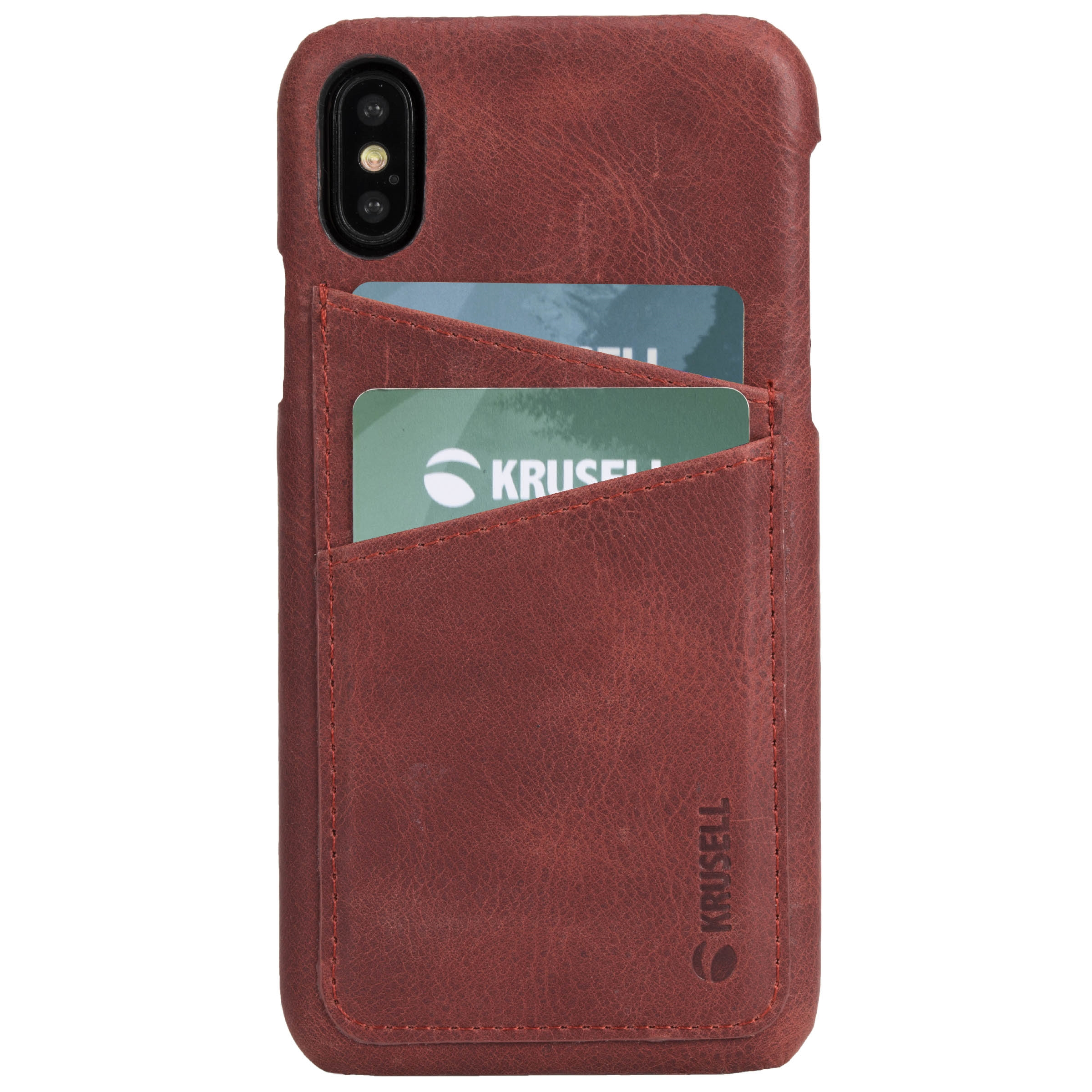 Capac protectie spate Krusell Sunne Cover 2 Card pentru Apple iPhone XS 5.8″ Leather Vintage Red