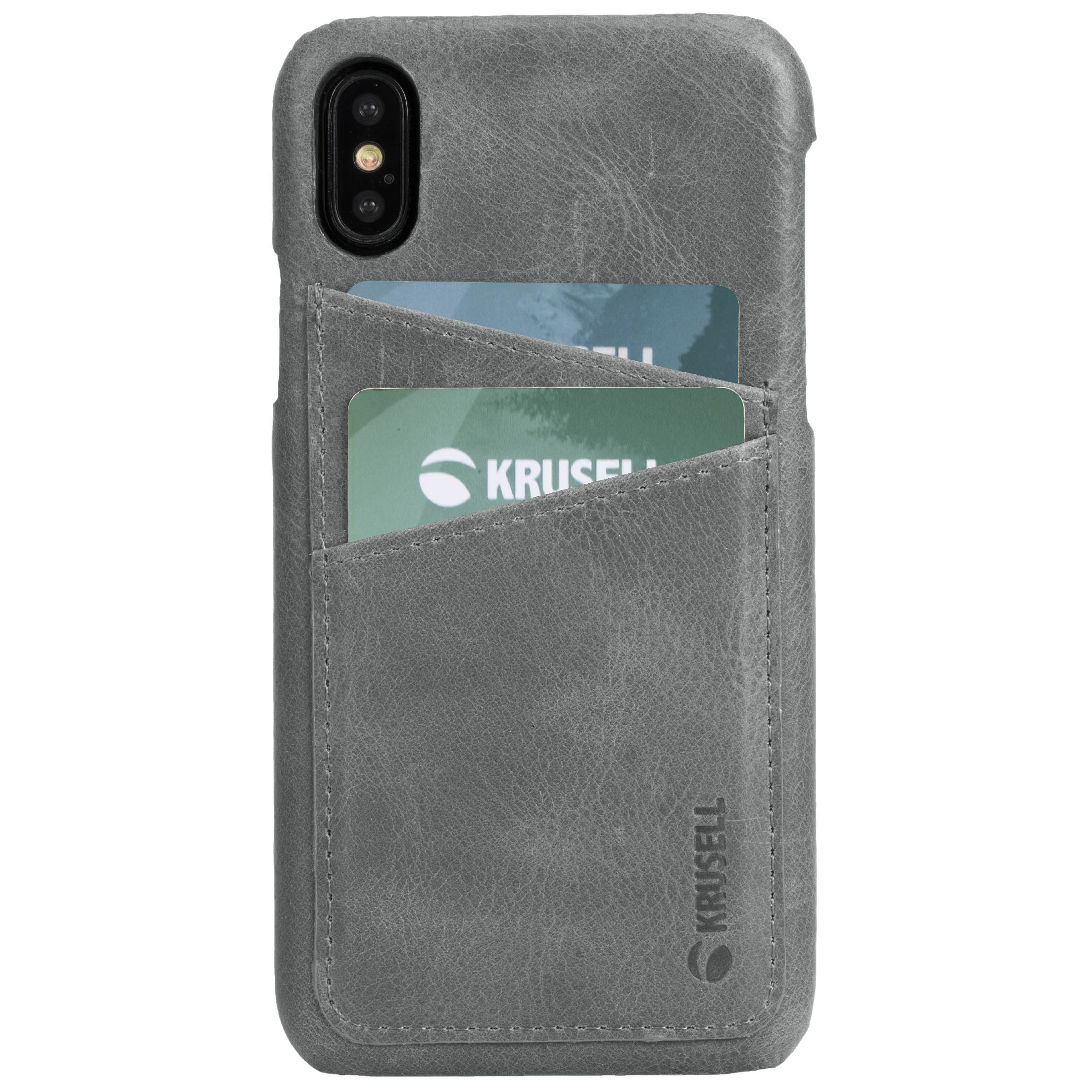 Capac protectie spate Krusell Sunne Cover 2 Card pentru Apple iPhone XS 5.8″ Leather Vintage Grey