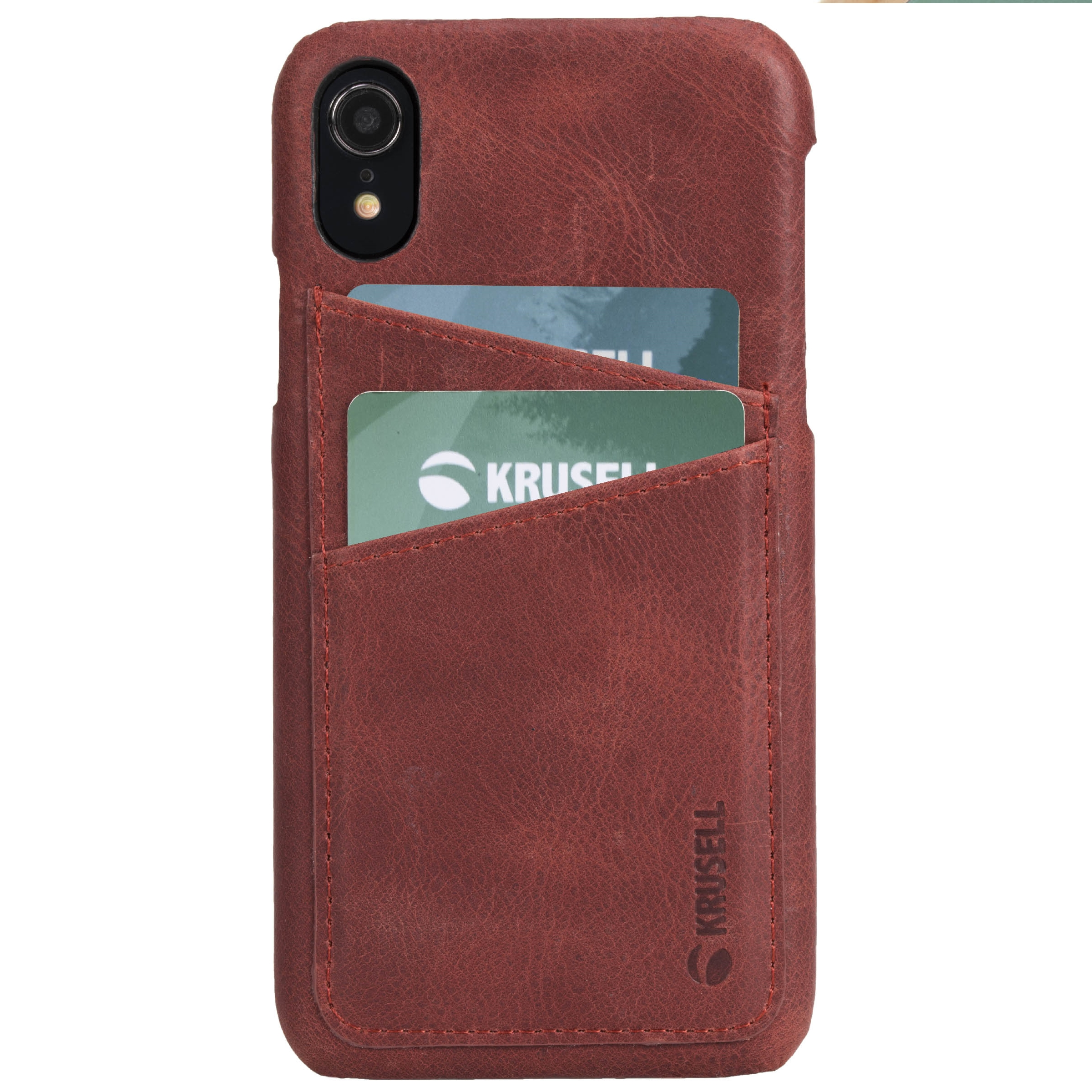 Capac protectie spate Krusell Sunne Cover 2 Card pentru Apple iPhone XR 6.1″ Leather Vintage Red