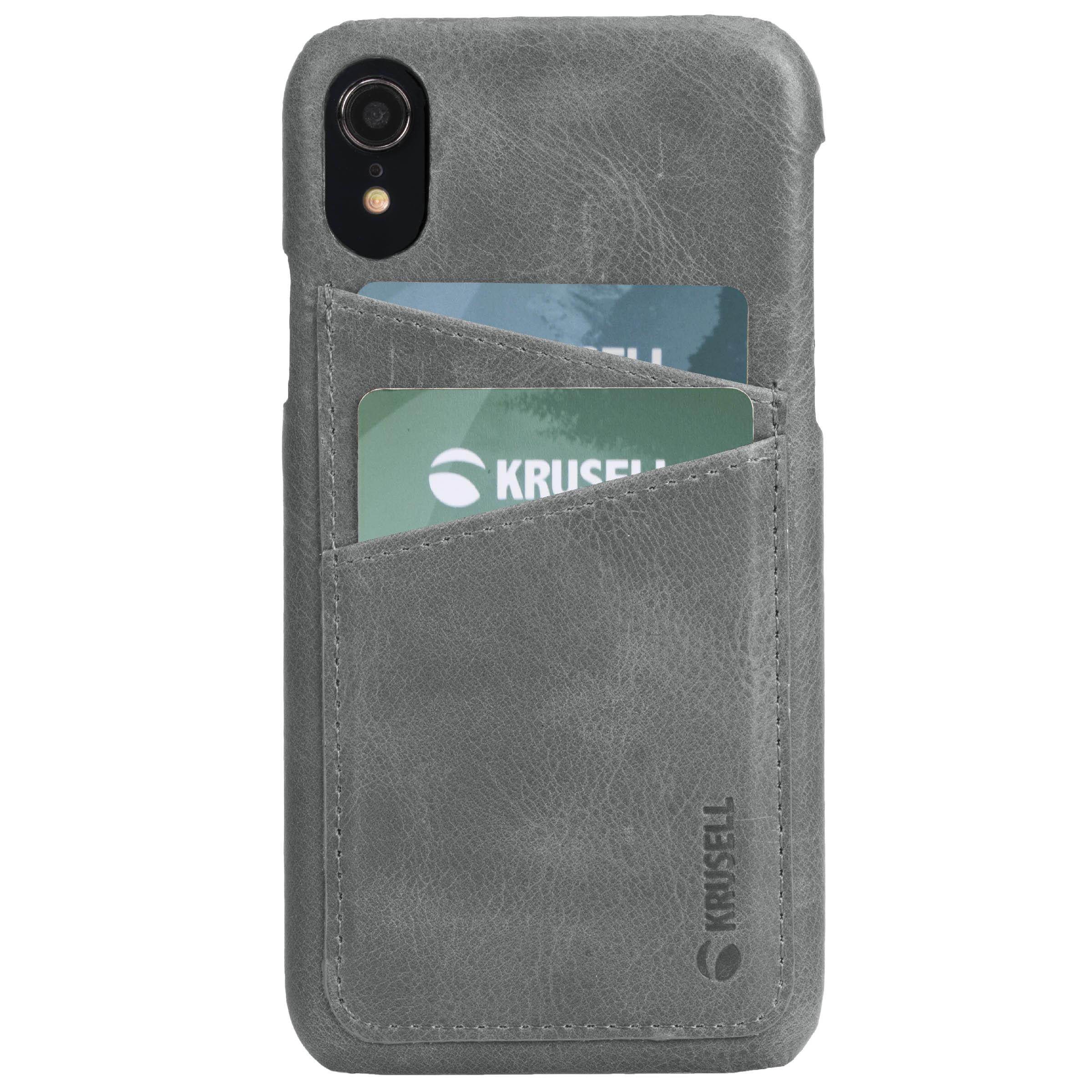 Capac protectie spate Krusell Sunne Cover 2 Card pentru Apple iPhone XR 6.1″ Leather Vintage Grey