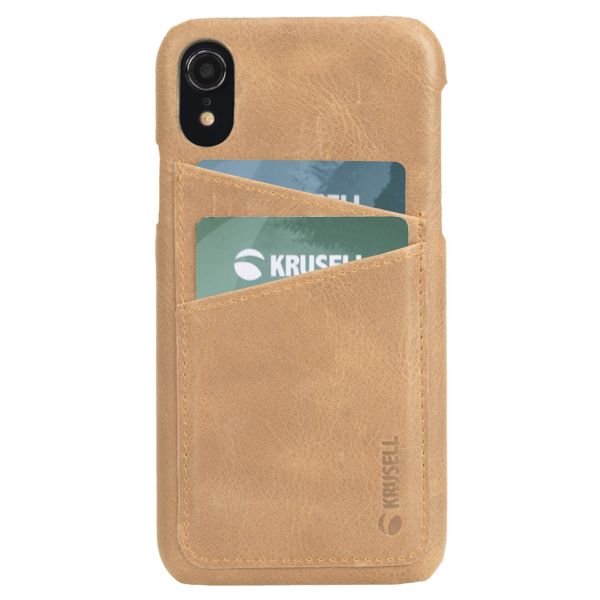 Capac protectie spate Krusell Sunne Cover 2 Card pentru Apple iPhone XR 6.1″ Leather Vintage Nude