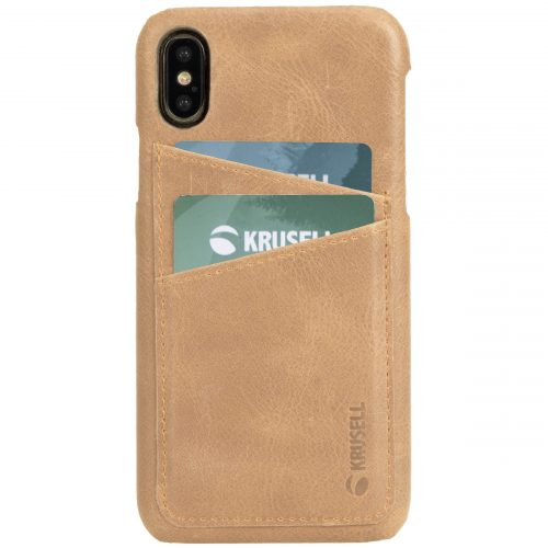 Capac protectie spate Krusell Sunne Cover 2 Card pentru Apple iPhone XS Max 6.5″ Leather Vintage Nude