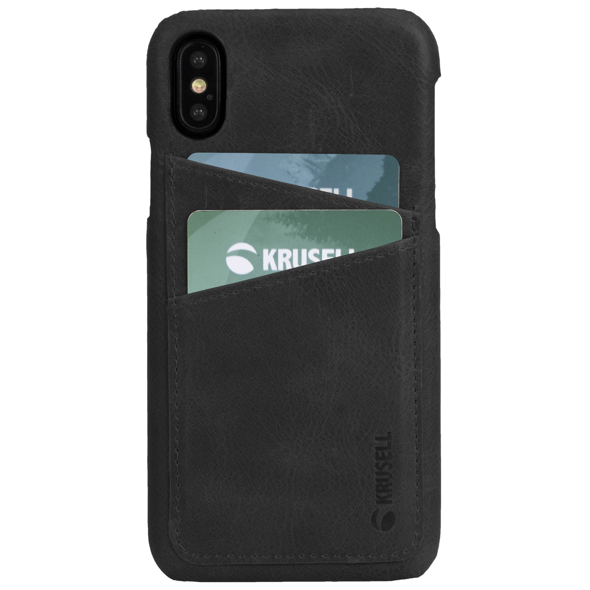 Capac protectie spate Krusell Sunne Cover 2 Card pentru Apple iPhone XS Max 6.5″ Leather Vintage Black